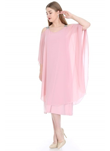 Angelino Butik Büyük Beden Omuzları Taşlı Askılı Şifon Elbise KL805 Pudra